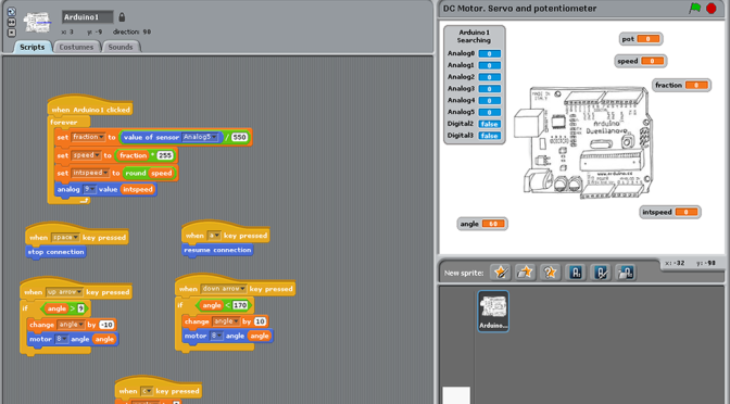 Using scratch for arduino to control with a
